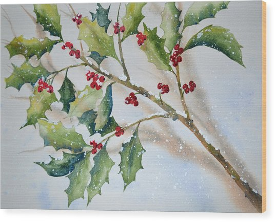 Holly In The Snow Wood Print