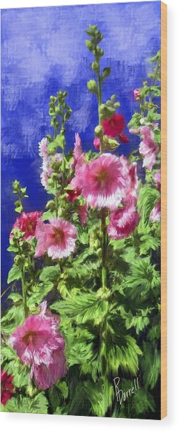 Hollyhock Haven Wood Print