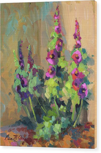 Hollyhocks At Giverny Wood Print