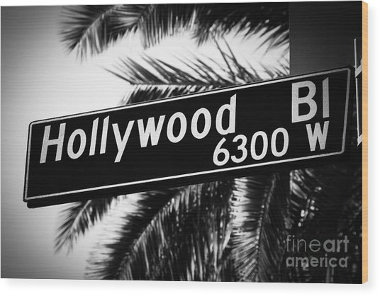 Hollywood Boulevard Street Sign In Black And White Wood Print by Paul Velgos