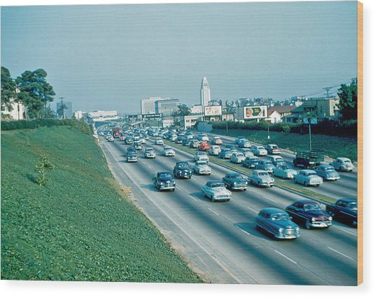 Hollywood Freeway 2 1954 Wood Print by Cumberland Warden