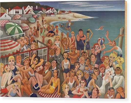 Hollywood's Malibu Beach Scene Wood Print by Miguel Covarrubias