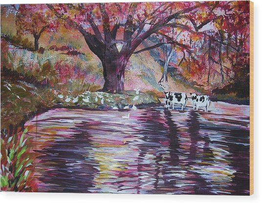 Holy Cow Wood Print by Linda Vaughon