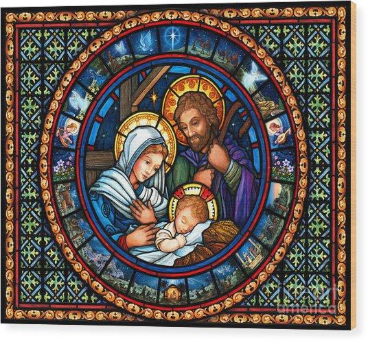 Holy Family Christmas Story Wood Print