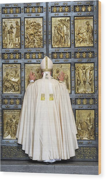 Holy Mass And Opening Of The Holy Door Wood Print by Vatican Pool