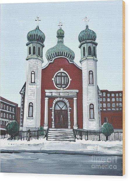 Holy Spirit Ukrainian Catholic Church Pointe St. Charles Wood Print by Reb Frost
