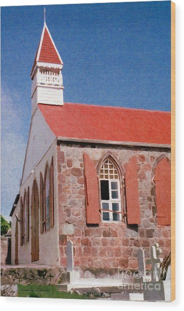 Holy Trinity Church On Saba Wood Print