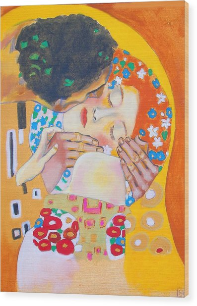 Homage To Master Klimt The Kiss Wood Print by Susi Franco