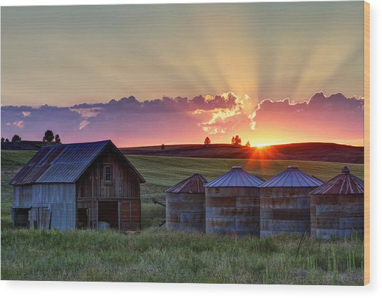 Home Town Sunset Wood Print