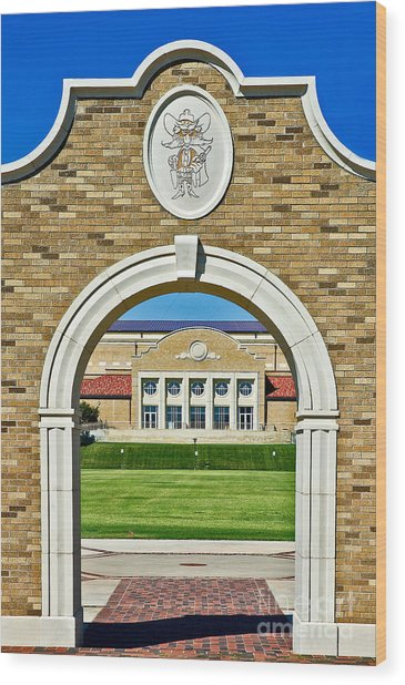 Wood Print featuring the photograph Homecoming Bonfire Arch by Mae Wertz