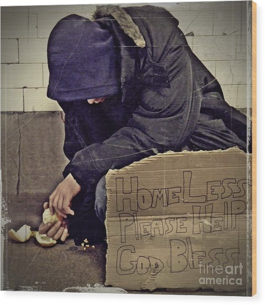 Homeless Please Help Wood Print
