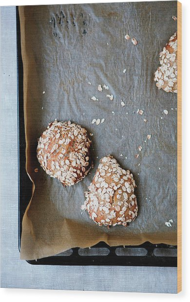 Homemade Buns With Oats Wood Print