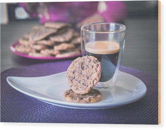 Homemade Chocolate Cookies With A Hot Black Coffee Wood Print by Robin-Angelo Photography