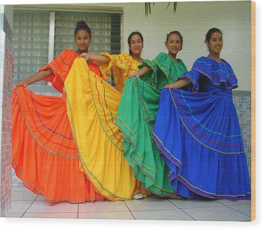 Honduran Dancers Wood Print