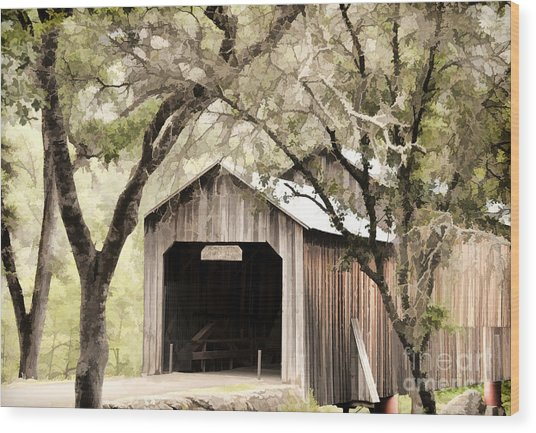 Honeyrun Covered Bridge Wood Print