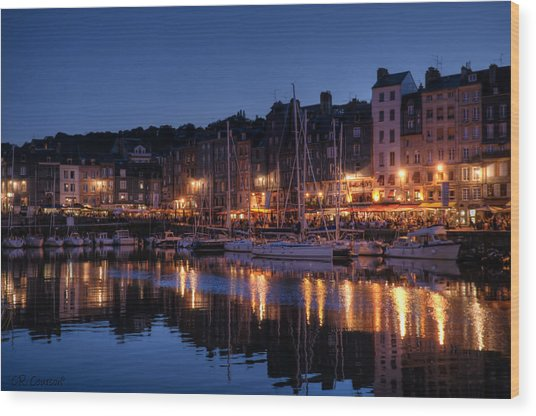 Honfleur At Night Wood Print by CR  Courson