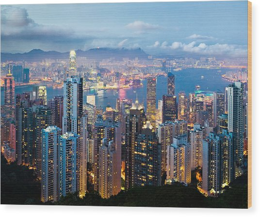 Hong Kong At Dusk Wood Print