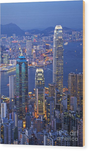 Hong Kong At Twilight Vertical Wood Print