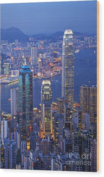 Hong Kong At Twilight Vertical Wood Print
