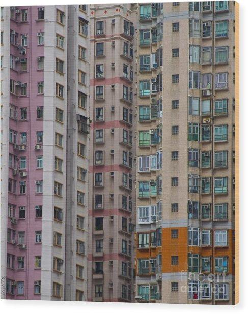 Hong Kong Buildings  Wood Print