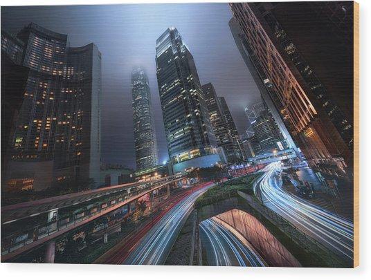 Hong Kong City Lights Wood Print