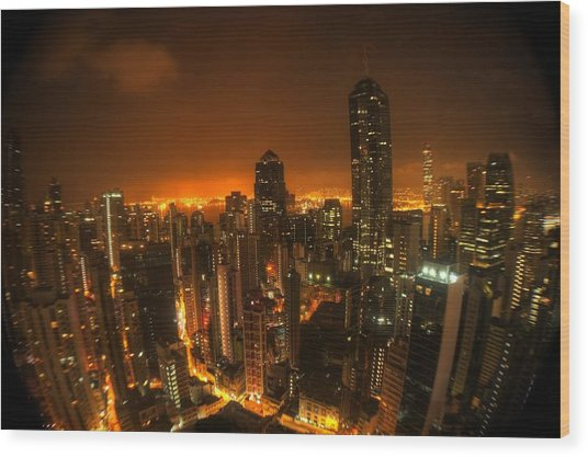 Hong Kong Gotham Wood Print