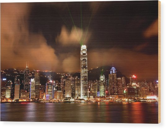 Hong Kong Harbor At Night Lightshow Wood Print by William Perry
