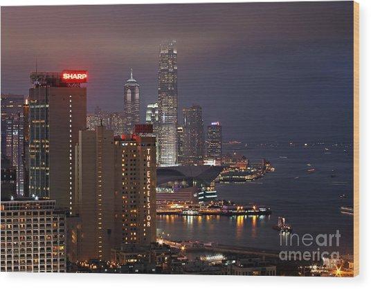 Hong Kong Wood Print by Lars Ruecker