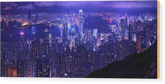 Hong Kong In Purple Wood Print