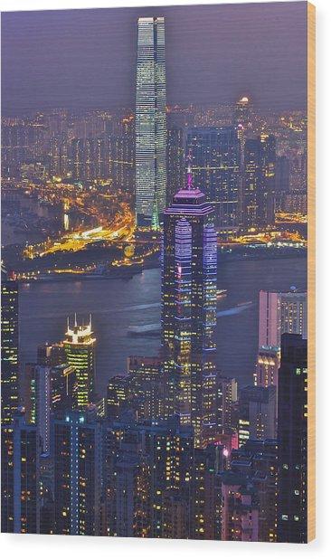 Hong Kong Night View At Victoria Peak Wood Print by Hisao Mogi