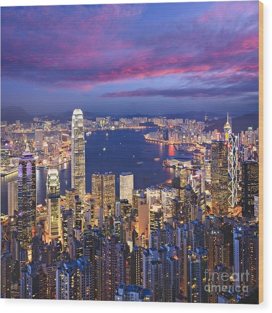 Hong Kong Skyline Twilight Square Wood Print