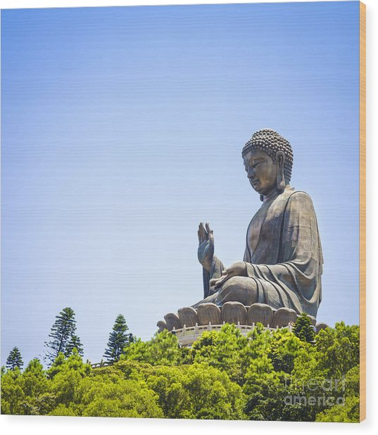 Hong Kong The Giant Buddha Wood Print