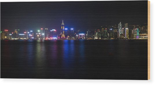 Hong Kong Waterfront Wood Print