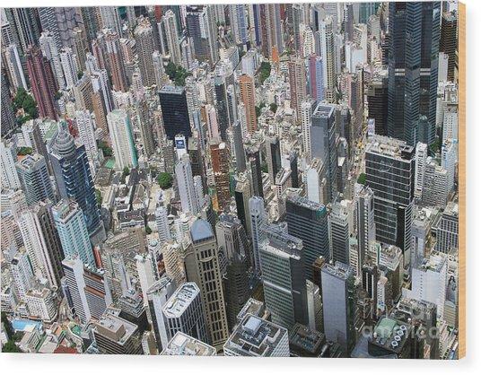 Hong Kong's Density Wood Print by Lars Ruecker
