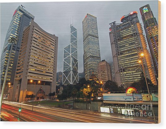 Hong Kong's Financial Center Wood Print by Lars Ruecker