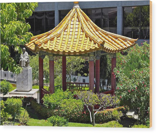 Honolulu Airport Chinese Cultural Garden Wood Print