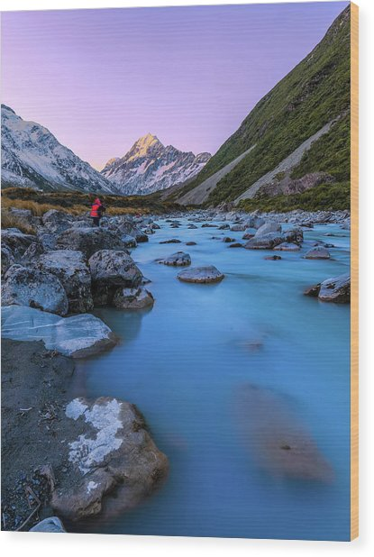 Hooker River, Mount Cook National Park Wood Print by By Arief Rasa