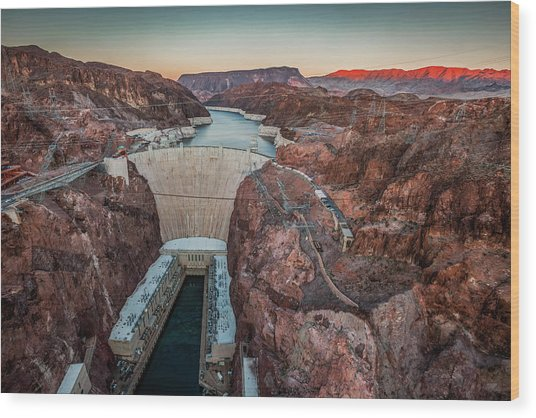Hoover Dam At Dusk Elevated View Wood Print by Bob Stefko