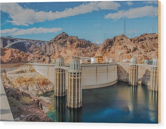 Hoover Dam Reservoir Wood Print