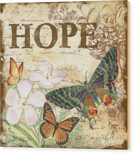 Hope And Butterflies Wood Print