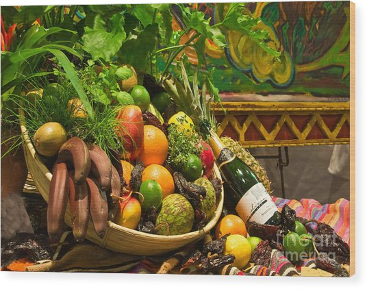 Wood Print featuring the photograph Fruit And Wine 1 by Mae Wertz