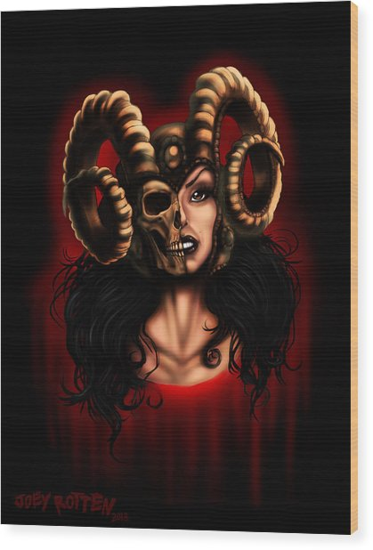 Horned Queen Wood Print by Joey Rotten