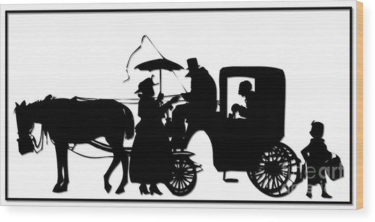 Horse And Carriage Silhouette Wood Print