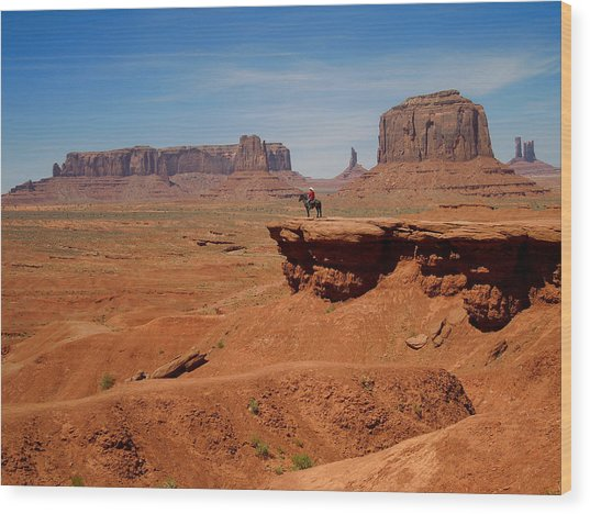 Horse And Rider In Monument Valley Wood Print