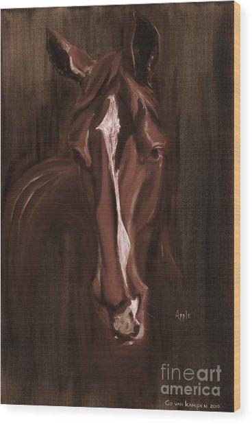 Horse Apple Warm Brown Wood Print