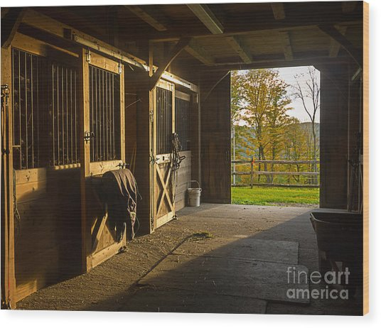 Horse Barn Sunset Wood Print