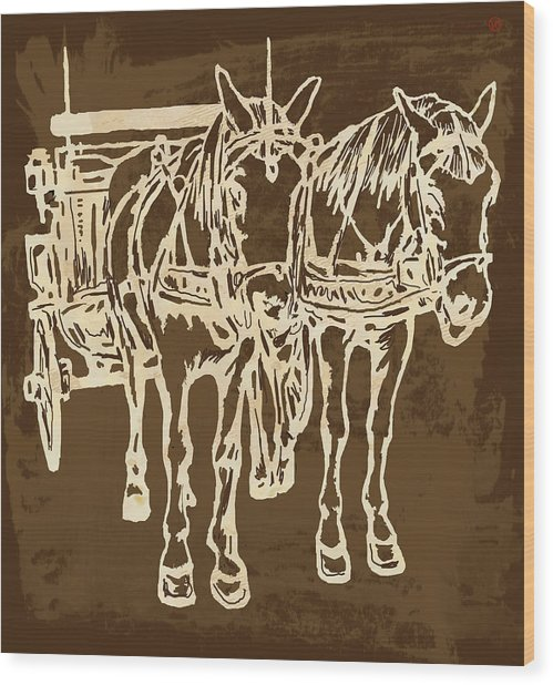 Horse Carriage - Stylised Pop Modern Etching Art Portrait - 1 Wood Print