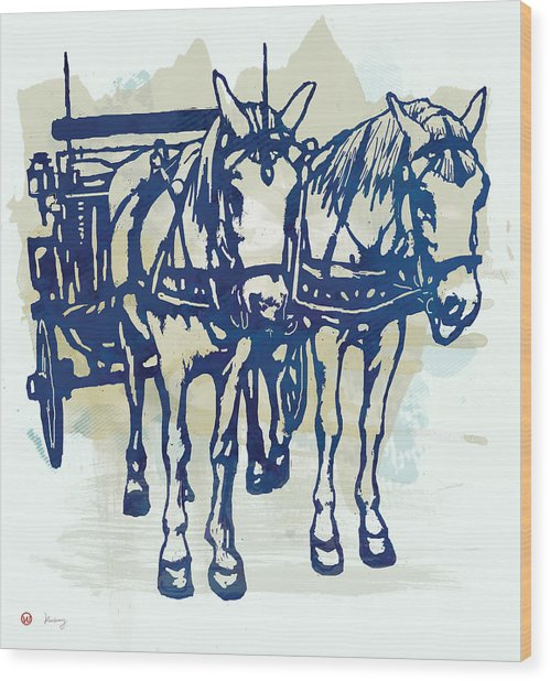 Horse Carriage - Stylised Pop Modern Etching Art Portrait Wood Print