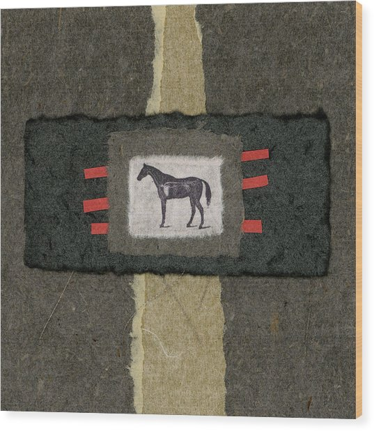 Horse Collage Wood Print