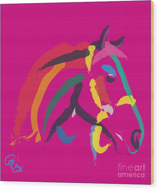 Horse - Colour Me Strong Wood Print